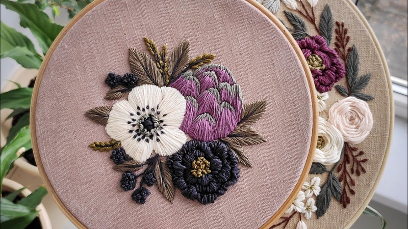 Anemone and Artichoke pattern Embroidery for beginners