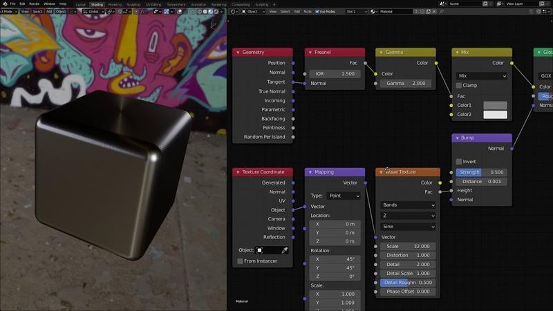Бесплатный анизотропный материал для EEVEE Blender, blend файл в описании