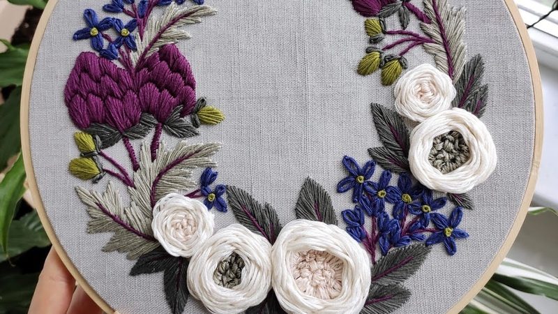 Artichokes and white roses wreath May Embroidery for beginners