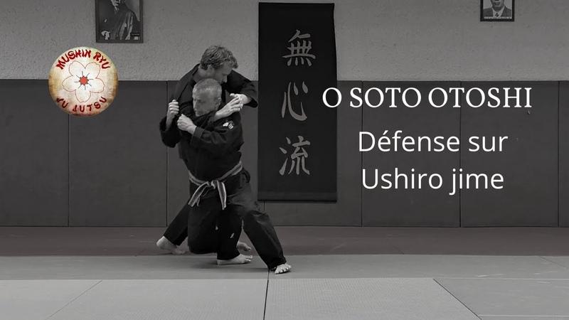 Défense sur Ushiro jime O soto otoshi Mushin ryu ju jutsu japonais