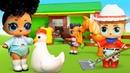 Детское видео про игрушки. Куклы ЛОЛ сюрприз едут на ферму с мамой ЛОЛ ОМГ! Игры в куклы для девочек