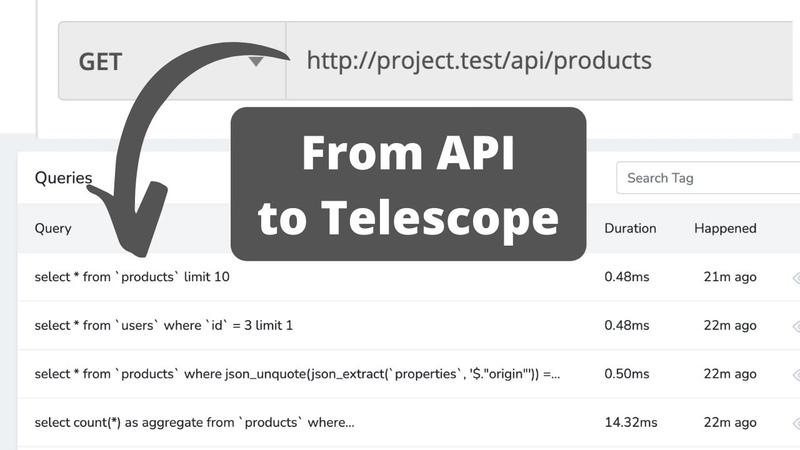 Debug Eloquent Queries from API Laravel Telescope