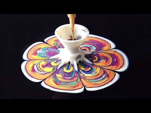 (640) Acrylic pour painting with FLOWER FUNNEL ~ Fluid art tutorial ~ Acrylic pouring for beginners