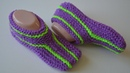 Тапочки - следки спицами вяжем быстро и легко