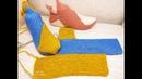 Следки-тапочки одним полотном на 2 спицах из остатков пряжи. Вяжем вместе тапочки.
